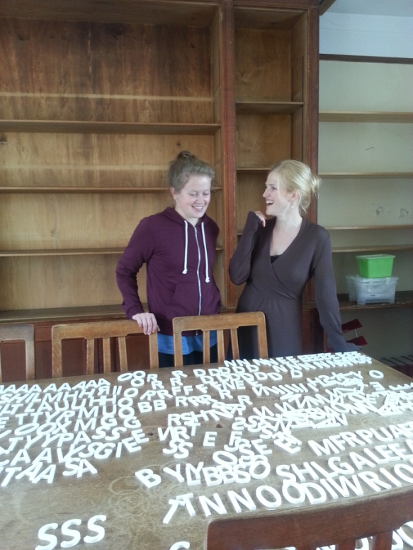 Marit and Mirjam at the Land Economy Library