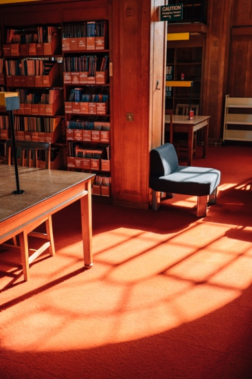 Afternoon light in the Land Economy Library