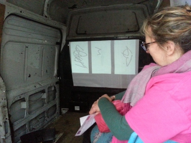 Inside Mocksim's van